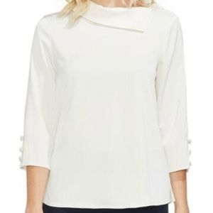 VINCE CAMUTO Ivory White Button Sleeve Blouse XS